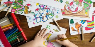 Child coloring at daycare