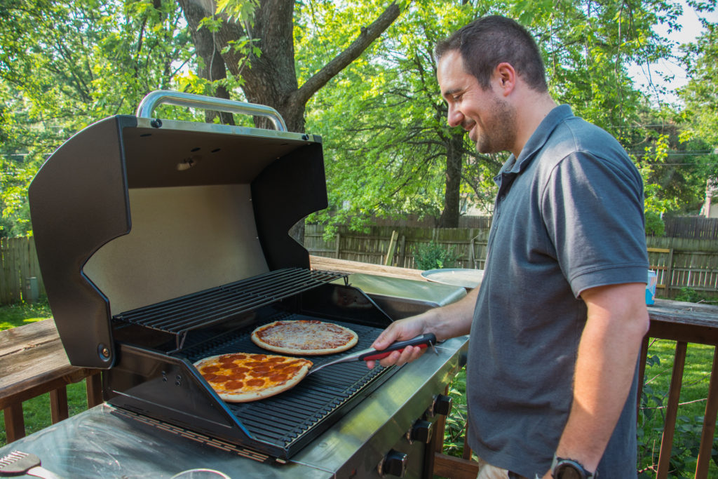 Flipping Pizzas on a Char-Broil Grill Father's Day