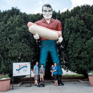 Paul Bunyan Holding A Hot Dog on Route 66