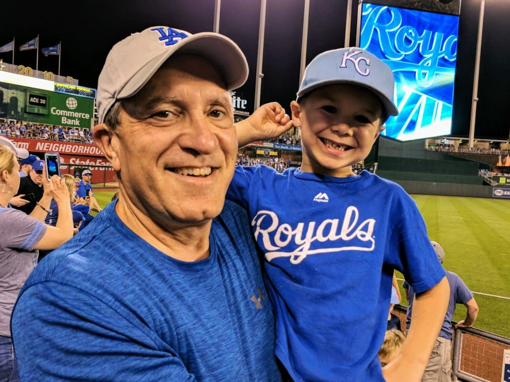 Grandpa and Grandson at a Kansas City Royals baseball game.