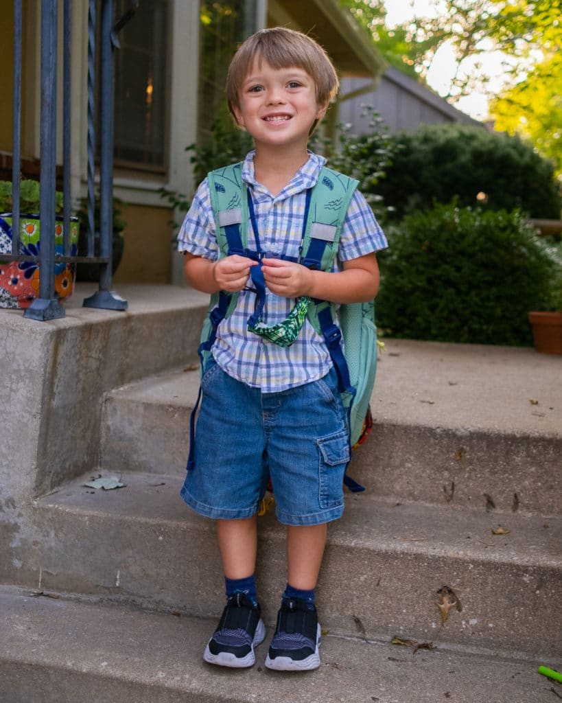 Child on his first day of kindergarten